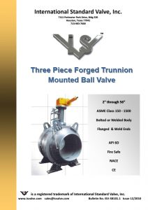 Three Piece Forged Trunnion Mounted Ball Valve